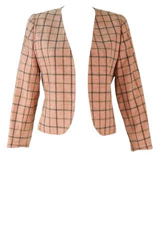 Valentino 'Miss V'  Cropped Pale Pink Check Bolero Jacket - M