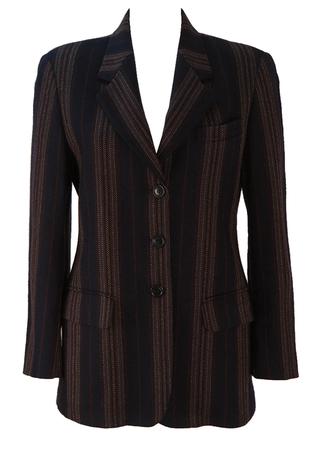 Max Mara Striped Wool Blazer Jacket in Navy, Brown & Grey - M