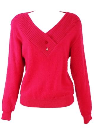 Hot Pink V-Neck Part Fleece Jumper - S