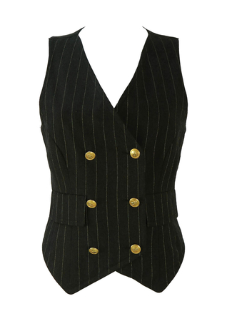 Valentino Gold and Grey Double Breasted Pinstripe Waistcoat - S/M