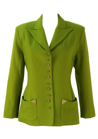 Lolita Lempicka Green Wool Jacket with Filigree Gold Buttons - M