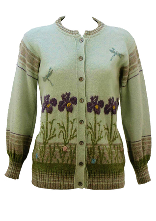 Floral Patterned Wool Knit Cardigan in Blue - M