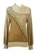 Brown & Cream Textured Jumper with Asymmetric Collar Detail - M
