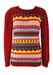 Burgundy Knit Jumper with Multi Colour Striped Pattern - S