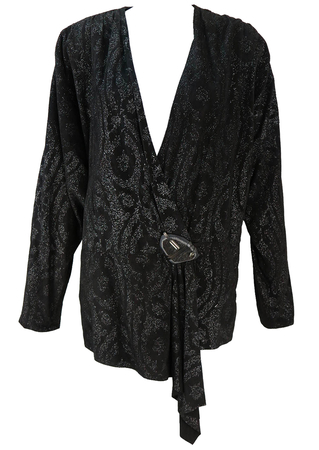 Vintage 1980's Black Suede Batwing Jacket with Metallic Silver Print - M/L