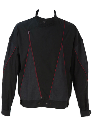 Black and Grey Jacket with Angular Burgundy Side Zip - L/XL
