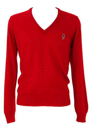 Red V-Neck Jumper with Running Man Motif - M