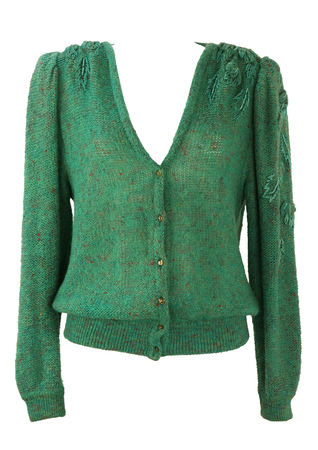 Green Mottled Knit Cardigan with Embroidery Sleeve Detail - M/L