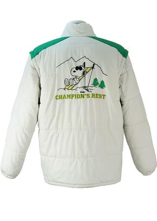 Snoopy White and Green Puffa Ski Jacket -XL/XXL