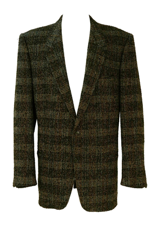Hugo Boss Wool Tweed Jacket in Brown, Grey & Blue - XL/XXL