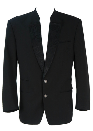 Black Tyrolean Evening Tux Jacket with Jacquard Pattern Lapels - L/XL