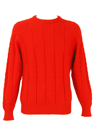 Red Cable Knit Jumper - M/L