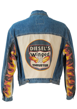 Diesel Blue Denim Jacket with Flame Imagery - M/L