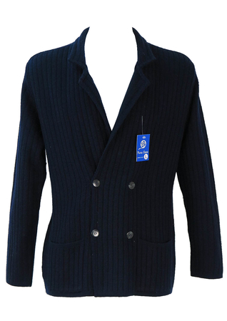 Navy Double Breasted Ribbed Knit Cardigan - M/L