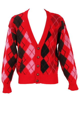 Shetland Wool Argyle Pattern Cardigan in Red, Black & Pink - L/XL