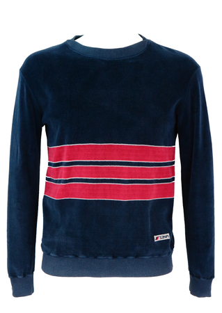 Blue Towelling Sweatshirt with Red Stripes - M