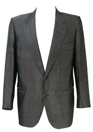 Christian Dior Grey Silk Textured Blazer - L