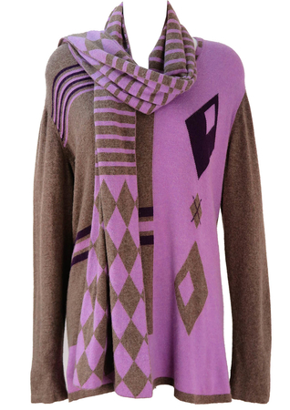 Krizia Purple & Warm Grey Jumper with Matching Scarf - L