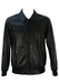 Black Leather Bomber Jacket with Knit Waistband & Cuffs - L