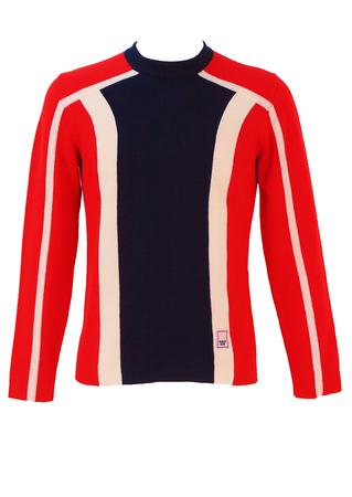 Vintage 1970's Striped Ski Jumper in Blue, Red & White - M