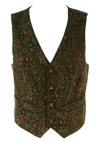 Olive Green Velvet Waistcoat with Paisley & Floral Pattern - M/L