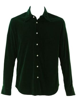 Racing Green Velvet Shirt - L