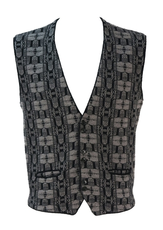 Knit Waistcoat/Sleeveless Cardigan with Grey & Black Graphic Pattern - M/L