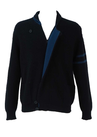 Navy Blue Zip Front Cardigan with Bright Blue Highlights - L/XL