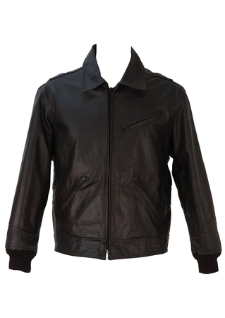 Dark Brown, Quilt Lined Leather Jacket - L/XL