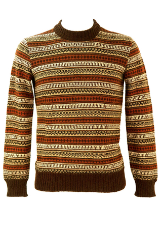 Brown and Cream Fair Isle Patterned Jumper - S/M