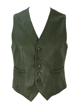 Warm Grey Leather Fitted Waistcoat - S/M