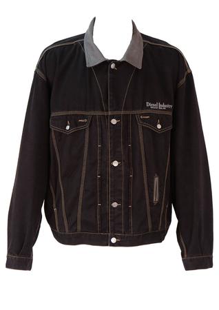 Diesel Black Denim Jacket with Leather Trim - XL/XXL
