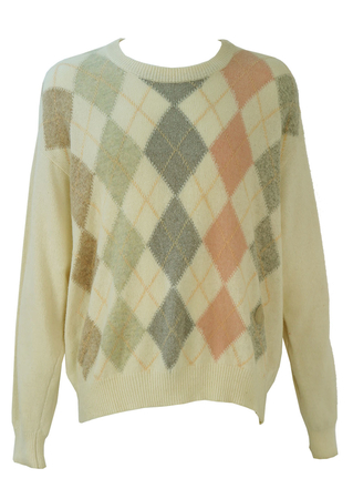 Trussardi Cream Wool Jumper with Pastel Argyle Pattern - XL/XXL