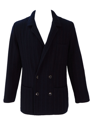 Double Breasted Navy Wool Cardigan - S/M
