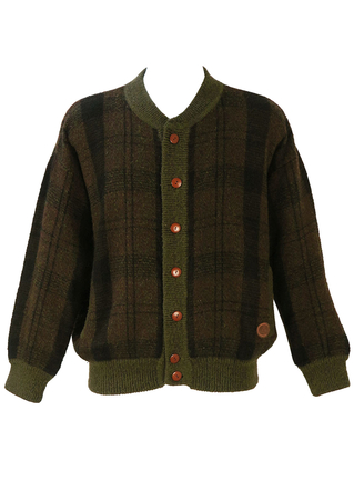 Wool Cardigan with a Brown, Green & Black Check Pattern - L/XL