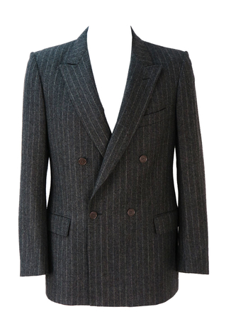 Grey Double Breasted Pinstripe Jacket - M