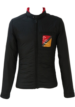 Black Ski Jacket / Racer Jacket in Black with Red & Yellow Pattern - S/M