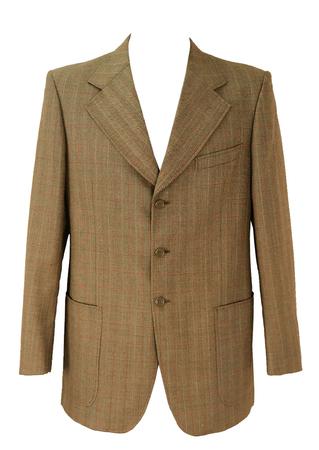 Vintage 1970's Brown and Orange Fine Check Jacket - L