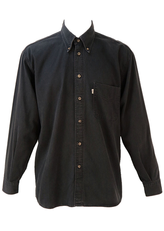 Levis Grey & Black Fine Striped Shirt - L/XL