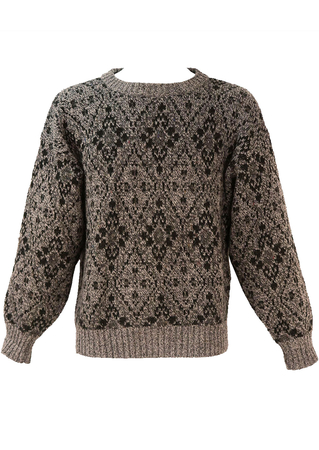 Grey Jumper with Black Diamond Pattern - L