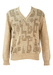Cream and Brown V-neck Jumper with Geometric Pattern - M/L