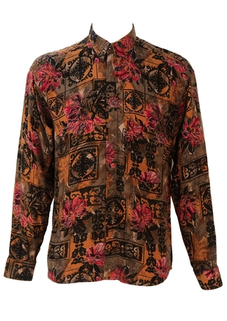 Abstract Floral Print Shirt in Grey, Brown & Red - M