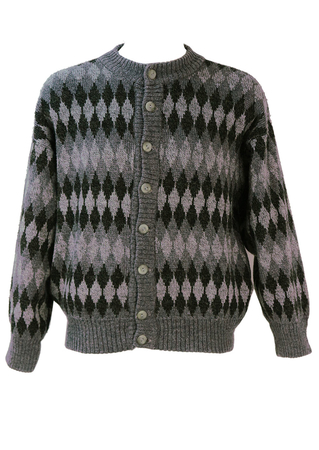Grey Diamond Patterned Cardigan - L/XL
