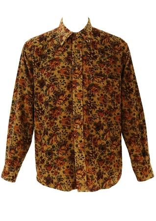 Corduroy Shirt with Orange & Purple Floral Print - L/XL