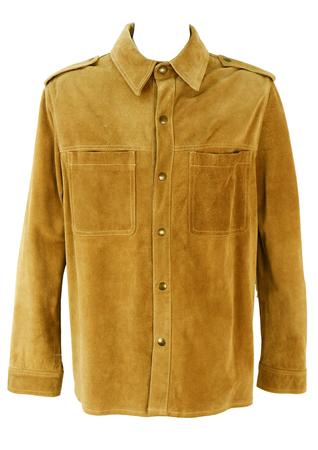 Suede Shirt Jacket in Camel - XL/XXL