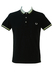 Fred Perry Black Polo Shirt with Striped Collar - M