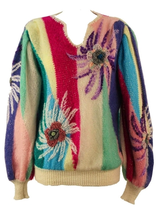 80's Multi Colour Striped Jumper with Bold Floral Detail - M/L