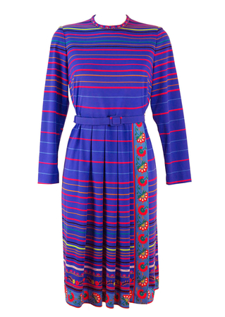 80's Vibrant Blue Dress with Multi Colour Stripes and Floral Trim - M