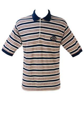 Asics Polo Shirt with Grey, White & Blue Stripes - M