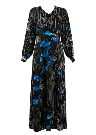 Vintage 70's Maxi Dress in Black with Multi Colour Floral Design - M